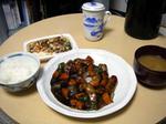 黒酢豚の夕飯